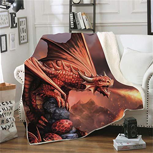 Samt Leichte Decke, Morbuy 3D Kuscheldecke Sofadecke Bettüberwurf Erhältlich Decke Tagesdecke Decke für Sofa & Bett Falten-widerstandsfähig Schmusedecke (150x200cm,Drache O)