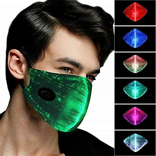 MXXQQ LED Staubmundschutz, USB Aufladbare Luminous LED Gesicht Mundschutz Valentine Herren Damen Junge Party Weihnachten Halloween,Schwarz