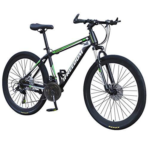 Bike Mountain 26 Pollici 21 velocità, Bicicletta Bici, parafango Anteriore e Posteriore, per Uomo, Doppio Disco e Doppia Sospensione per Adulti, Mountain Sedile Regolabile (Verde)