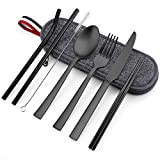 Matte Black Travel Utensils with Case, E-far 8-Piece Reusable Travel Silverware Set, Metal Portable Camping Cutlery Flatware Set Includes Knife, Fork, Spoon, Chopsticks, Straws, Cleaning Brush