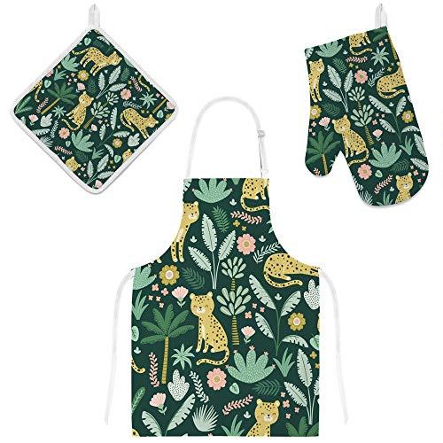 Orediy Juego de 3 baberos de cocina con bolsillos, guantes de horno resistentes al calor con soportes para ollas, animales de la jugle de leopardo, delantal para cocinar
