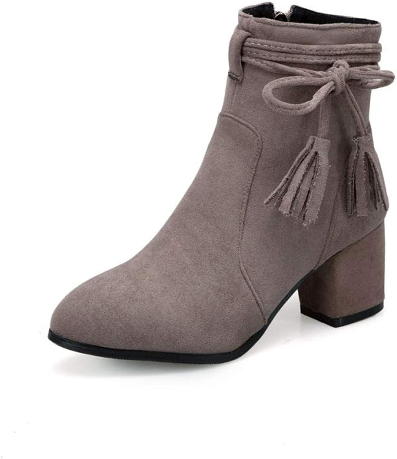 Women Simple Suede Ankle Boots 2018 Autumn Heeled Low Boots Large Size 3246