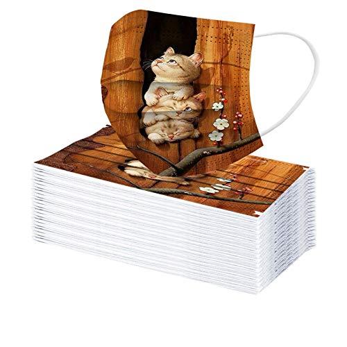 Amuse-MIUMIU 50 Stück Bunt Cartoon Katze Bedruckte Einmal-Mundschutz, Einweg Erwachsene Ostern Mundschutz Bunt Mund Nasenschutz 3 Lagig Atmungsaktiv Bandana Halstuch für Damen Männer