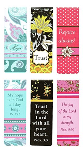 Christian Art Gifts Set of 6 Hope Trust Joy Inspirational Magnetic Bible Verse Bookmark with Scripture, Size Small 2.3' x .75'
