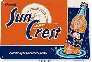 Metal tin Sign 8x12 inches TIN Sign Sun Crest Soda Soda Cola Coke Retro Rustic Metal Decor