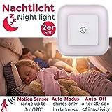 Luz nocturna con sensor de movimiento LED, Set de 2 Lámparas 65x65x30mm, Luz de enchufe para Niños, Ideal para Dormitorio Pasillo Baño Habitación de Bebé Cocina Garaje