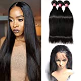 MSCOVE Straight Hair 3 Bundles with 360 Closure Middle Part Straight Human Hair Bundles with 360 Lace Frontal Closure Natural Black Color (14 16 18inch & 12inch)