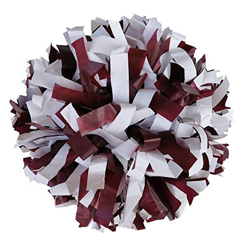 Danzcue 1 Pair 6 Inches Plastic Cheerleading Pom Poms with Dowel Handle (Maroon-White, One Size)