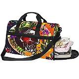 QMIN - Bolsa de viaje con cremallera y correa para mujer, diseño de calaveras y flores, tamaño grande, diseño vintage