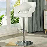 DICTAC Leder Barhocker Höhenverstellbarer Barstuhl mit lehne weiß küche Barstühle Drehbarer belastbar bis 180kg