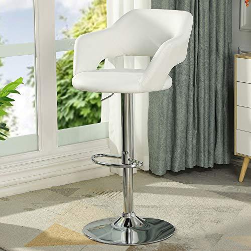 DICTAC Leder Barhocker mit lehne Barstuhl Höhenverstellbarer Weiß Küchenhocker Drehbarer Belastbar bis 180kg