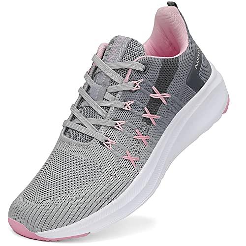 DANNTO Zapatillas de Deporte Hombre Mujer Running Zapatos para Correr Gimnasio Sneaker Deportivas Padel Transpirables Casual Calzado Unisex Gris B 38
