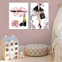 ZYQYQウォールアート絵画の女の子の香水の花の口紅ハイヒールの壁の芸術店の装飾のための北欧の写真40x60cmx2フレームなし