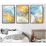 NO BRAND Tríptico Sueño Azul y Amarillo Pinturas de Lienzo de Arte Abstracto Cuadros modulares Lienzo de Arte de Pared para la decoración de la Sala de estar-50x70 cm Sin Marco