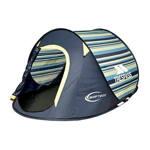 Trespass Swift2 Waterproof 2 Man Pop Up Tent (Lemon Grass Stripe)