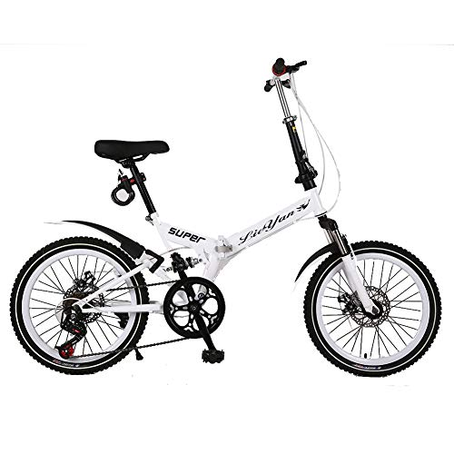 ANJING Bicicleta Plegable de 20 Pulgadas para Adultos, Bike Ligera de 6 Velocidades con Frenos de Disco Delanteros y Traseros y Doble Suspensión