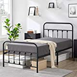 YAHEETECH Classic Twin Size Metal Bed Frame for Boys Girls Victorian Style Iron-Art Platform Bed Base Bedframe with Headboard and Footboard Under Bed Storage for Twin Size Bed No Box Spring Needed