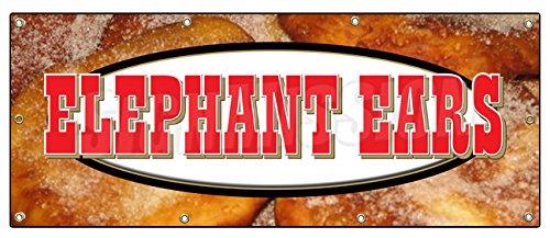 "36""x96"" Elephant Ears Banner Sign concessions Signs Ear Fresh hot Crispy"