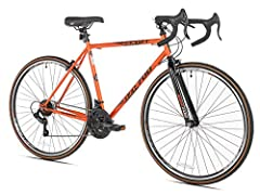 High tensile steel frame & fork Shimano 21-speed stem shifters Alloy double wall 36 hole rims, 25mm Width tires Single Pivot alloy brakes