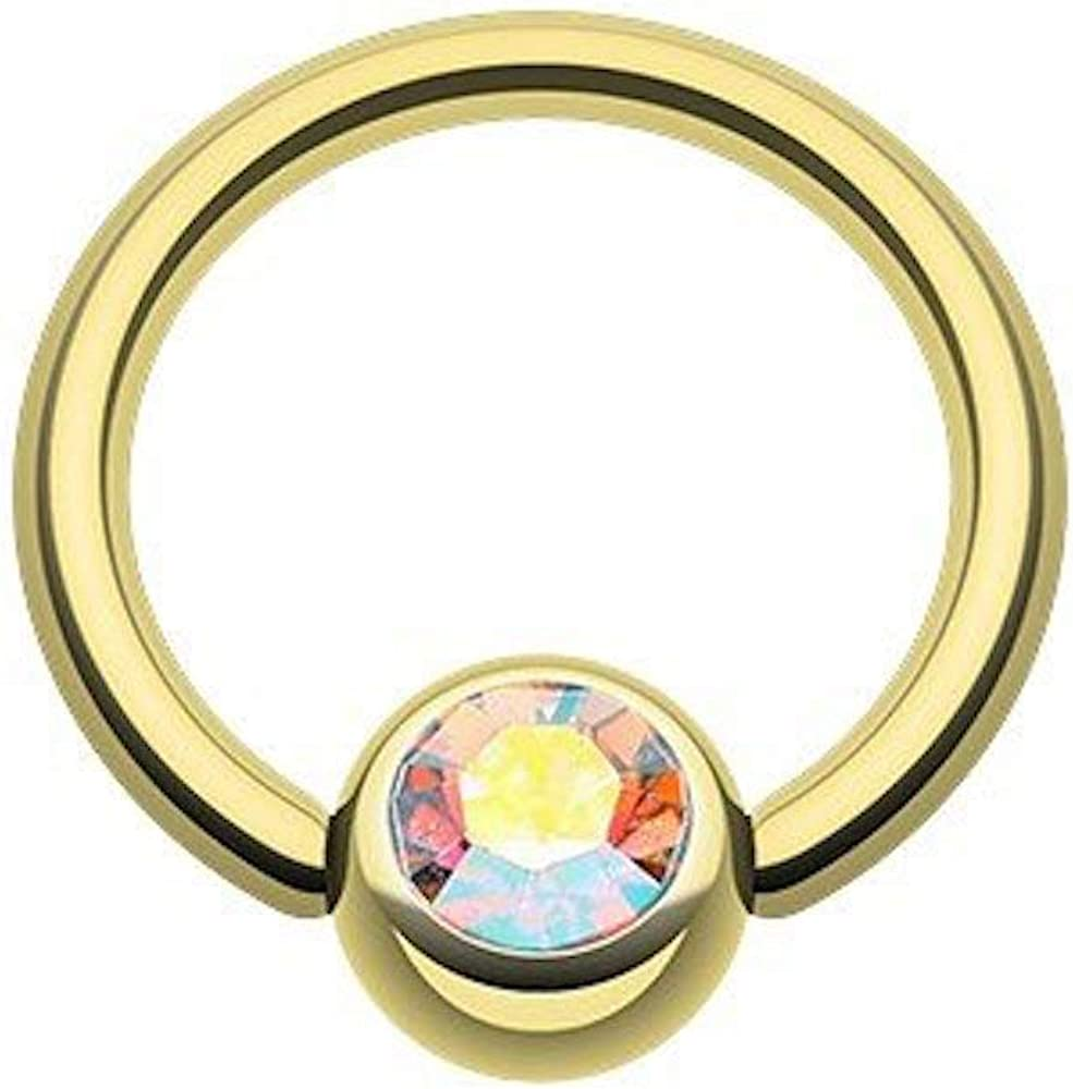 Covet Jewelry Gold Plated Gem Ball Captive Bead Ring