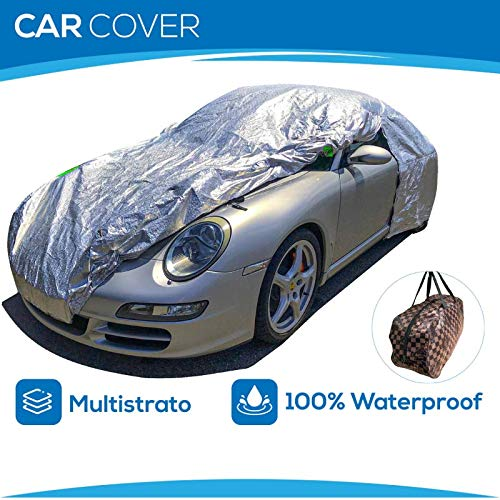 NORDERBRØ Telo COPRIAUTO Felpato Argento 100% Waterproof, Multistrato, Universale, Impermeabile, Copertura Auto Antigrandine (S: 390 * 160 * 120CM)