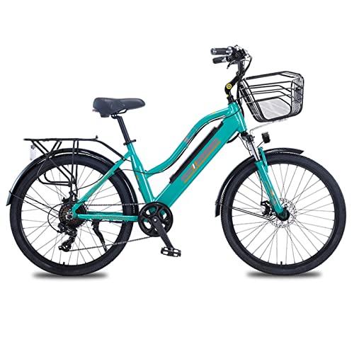 Liu Yu·casa creativa Bicicleta eléctrica de montaña para Mujer con Cesta 36V 350W Bicicleta eléctrica de 26 Pulgadas Bicicleta eléctrica de aleación de Aluminio (Color : Verde, Number of speeds : 7)