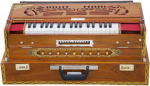 Calcutta Harmonium Scale Changer, Musicals, In USA, Folding, Teak Wood, 13 Scales, 4 Reeds, Natural Color, Tuned to A440, Padded Bag, Book, Indian Musical Instrument (PDI-BBH)