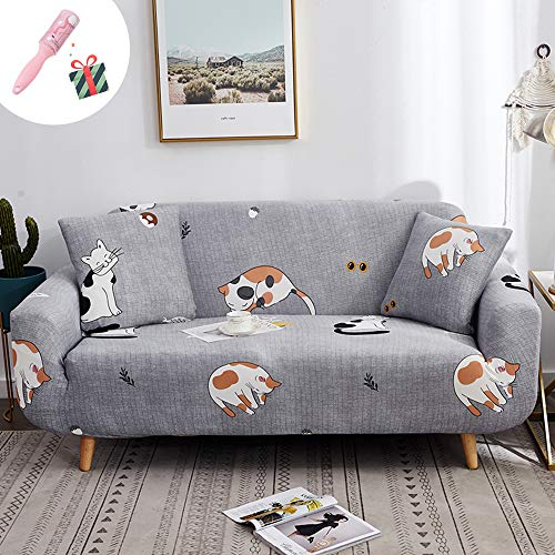 Elastisch Sofa Überwürfe Sofabezug 2 Sitzer, Morbuy Ecksofa L Form Stretch Antirutsch Armlehnen Modern Sofahusse Sofa Abdeckung Hussen für Sofa Couchbezug Sesselbezug (2 Sitzer,Grau)