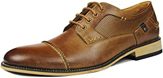 MYHYZZ-Oxfords Oxford for Men Business Shoes Formal Lace-up Genuine Leather Stitching Wood-like Heel Anti-slip Breathable