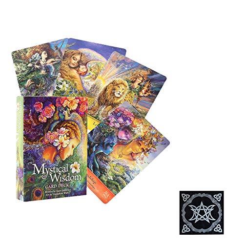 Mystical Wisdom Oracle Deck Game para Amigos Fiesta Familiar Jugando Vacaciones Feliz Juego de Mesa Tarjetas de Regalo adivinación Destino Entretenimiento,with Tablecloth,Tarot Cards
