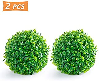 AQUEENLY Boxwood Ball, 2 Pack Fuax Boxwood Decorative Balls Artificial Topiary Plant for Table Decoration, Backyard, Garden, Wedding Decor and Home Decor, 7 Inches