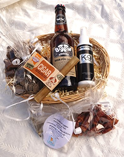 PAWSECCO LUXURY GIFT WRAPPED VALENTINE EASTER CHRISTMAS BIRTHDAY DOG HAMPER FOR HIM WITH HEART TAG, DOG BEER, DOG TEA, TREATS, EDIBLE CIGAR AND COLOGNE - FOR THE REAL LOVE OF YOUR LIFE!
