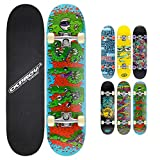 Osprey Skateboard Complet idéal pour Enfants Débutants - Planche de Skate 79 cm, Érable Lamellé 7 plis Double Kick Concave, Trucks Aluminium Axe 13 cm, Roulements ABEC 5 608z - 6x Designs Colorés