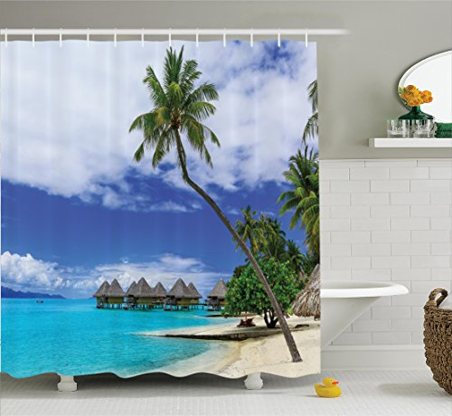 Ambesonne Tropical Decor Shower Curtain Set, Over-Water Bungalows of Tropical Resort Bora Bora Island Pacific Ocean Panorama, Bathroom Accessories, 84 Inches Extralong, Green Blue White