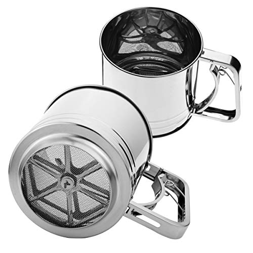 Szxc Hand Squeeze Fine Mesh Flour Sifter - Stainless Steel - 5 Cup Capacity Double Layers Sieve - Powdered Sugar Sifters
