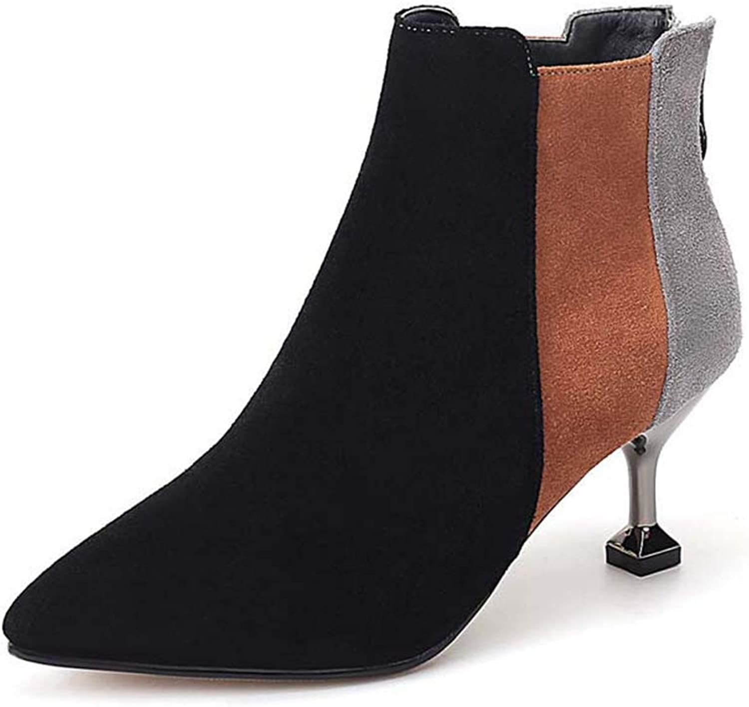 Woman Ankle Boots Back Zipper Pointed Toe Mixed color High Thin Heel Ladies Sexy Short shoes