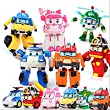 N\A Modèle D'anime, Jouets De Corée Robocar Poli Transformation Ambre Roy Modèle De Voiture Anime Figurine Jouets pour Enfants Cadeau 10cm Lot de 6 pièces