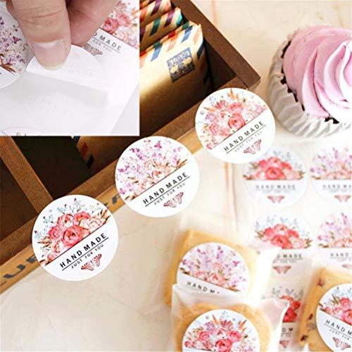 PMSMT 54 unids/Lote (6 Hojas)Flores Redondas MariposaHecho a Mano FlorPegatina Regalo Bolsa para Hornear Sellado Pegatina de Embalaje DIY