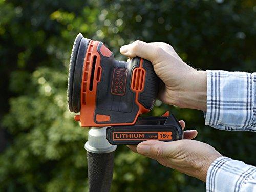 BLACK+DECKER BDCROS18N-XJ Ponceuse excentrique sans fil 18V - Plateau de 125 mm - Vitesse de 12 000 orb/min - Orbite : 1,3 mm, Orange, Sans batterie ni chargeur
