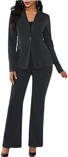 dahuo Damen Langarm-Blazer mit Hose Business Anzug Sets einfarbig elegant