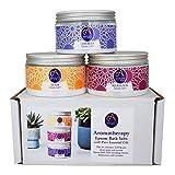 Absolute Aromas Set de paquete de sales de baño relajantes de Epsom - 3 x 300 g de lavanda, desintoxicación y relajación - Sulfato de magnesio infundido con aceites esenciales 100% puros