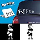 Ma Tribu autocollants Stickers Famille Voiture - Homme Rugby (Noir)