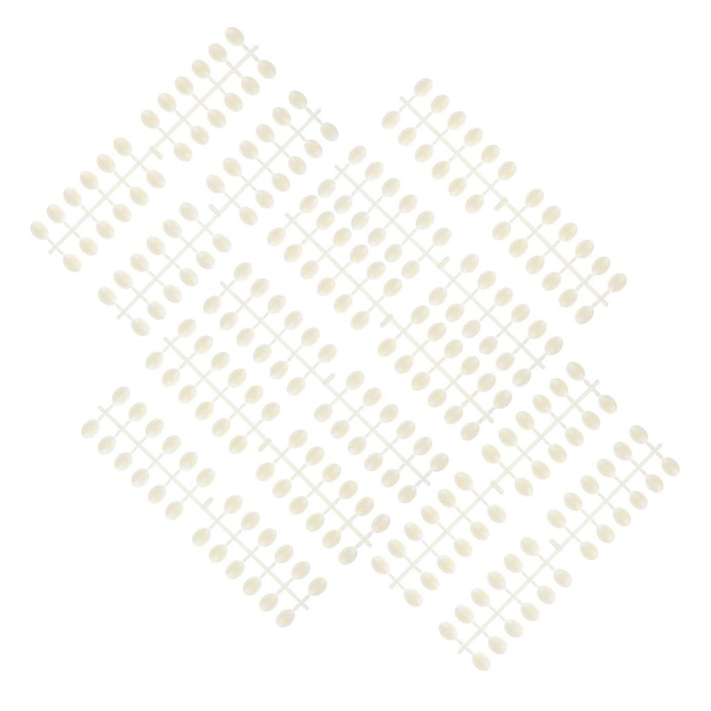 P Prettyia 10枚 ネイルアートチップ カラーカード ネイルサロン プロ 3タイプ選べ - ラウンドビーズ