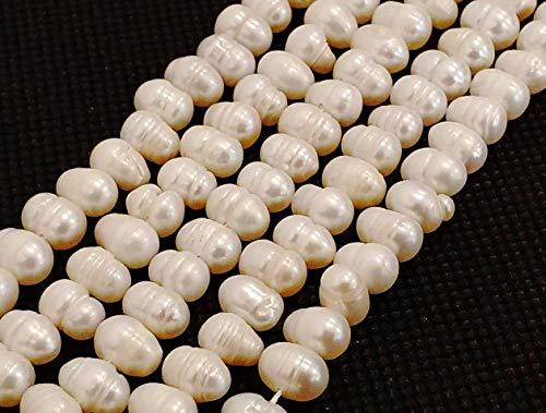 Perlas cultivadas de Agua Dulce, 8 mm, Color Crema y Blanco, Grano de arroz, Natural, Barroco, Perlas, Conchas