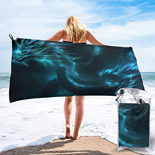 Gebrb Toalla de baño de Microfibra,Toallas de Gimnasio,Cyan Dragon Microfiber Fast Drying Towels Suitable for Camping, Backpacking,Gym, Beach, Swimming,Yoga