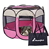 XianghuangTechnology Soft Fabric Portable Foldable Pet Dog Cat Puppy Playpen, Indoor/Outdoor use Pet Kennel Cage D31 x H23 (Pink)