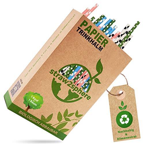 straw2sphere® Papierstrohhalme gepunktet   160 St.   1 Baum für jeden Kauf   Bio Strohhalme Papier   Trinkhalme Papier für Kinder   Cocktail Strohhalm Pappe   Papiertrinkhalme Hochzeit