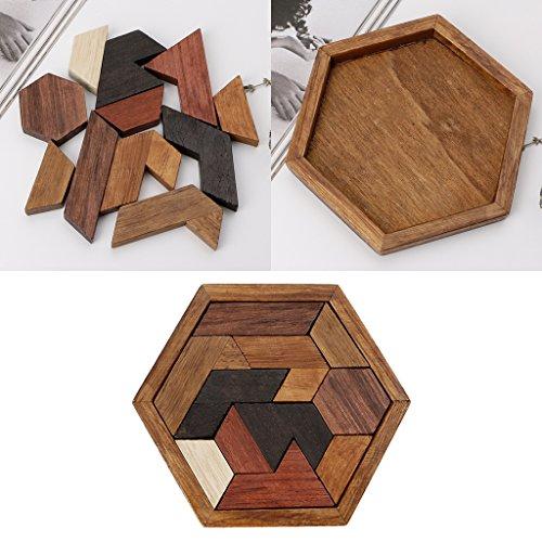 BINGMAX 3D chinesisches Holzpuzzlespiel Chexagon Model Brain Teaser Puzzle Bausteine