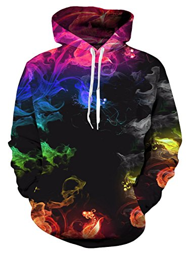 Idgreatim Teens Hoodie 3D Graffiti Printed Drawstring Taschen Hoodie Plus Samt - Colorful Smoke, S