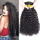 FZY 9A brasileño rizado cabello paquetes pelo humano brasileño paquetes pelo rizado brasileño 3 paquetes pelo brasileño Virgen paquetes natual negro color 300g total (16 18 20 inch)